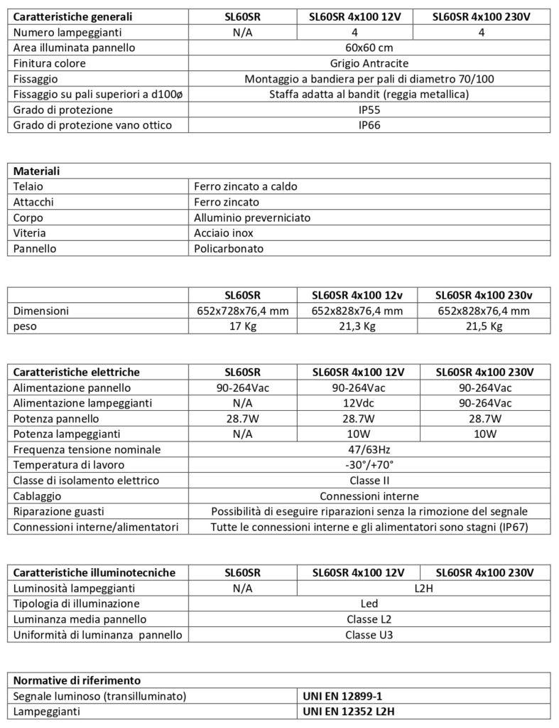 LAMA DI LUCE schede tecniche_segnale SL60SR